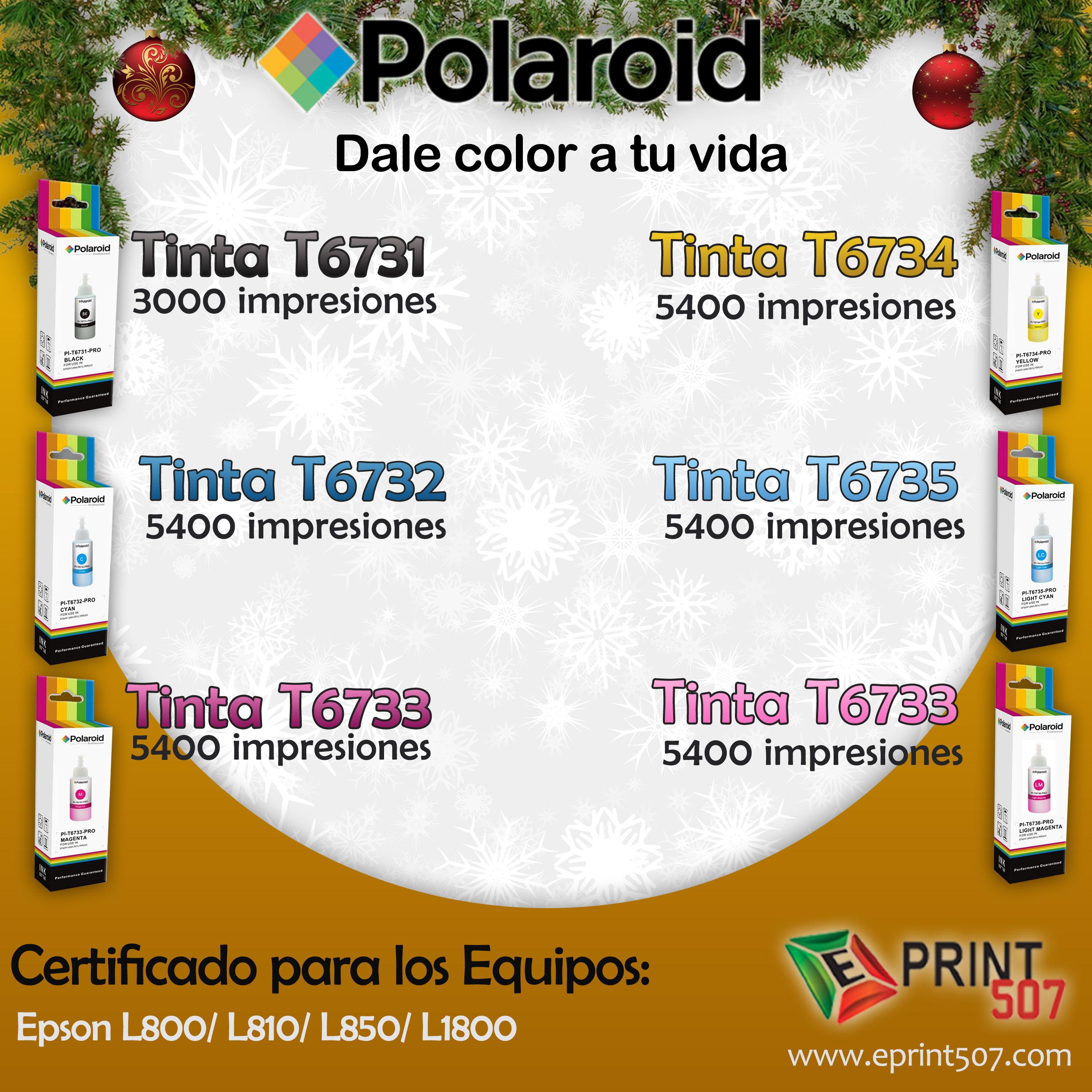 Pi T6731 Pro Botella Tinta 70ml Epson Black Marca Polaroid